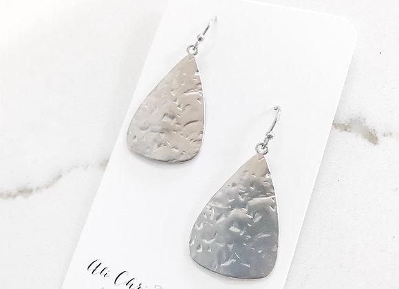 HAMMERED PENDANT Earrings (non tarnish silver)
