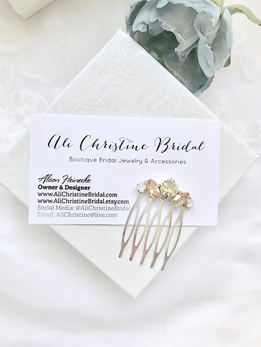 KRISTEN: Champagne Opal Petite Bridal Comb