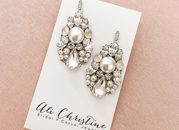 CADENCE: Ivory Nude Accented Bridal Earrings