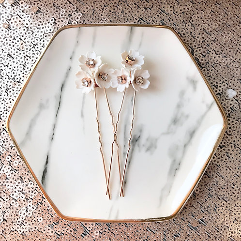 BLOSSOM: Rose Gold Floral Hair Pins (sold per pin)