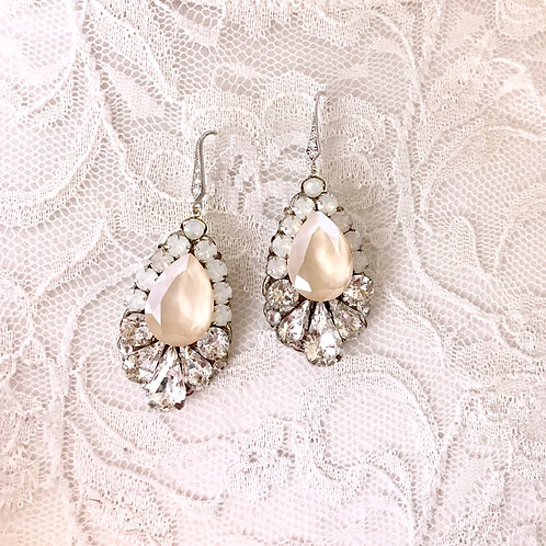 CLARA: Ivory Cream & Opal Earrings