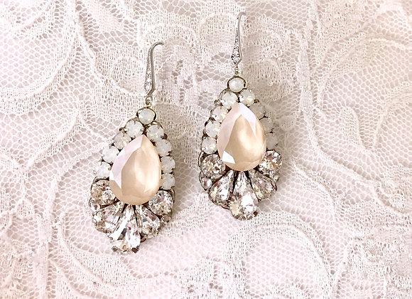 CLARA: Ivory Cream & Opal Earrings