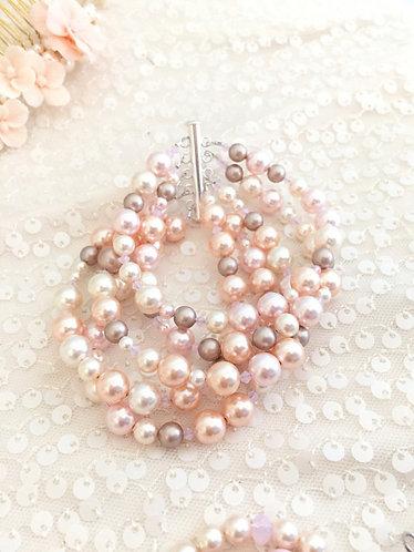 5 Strand Pink Palette Cuff Bracelet