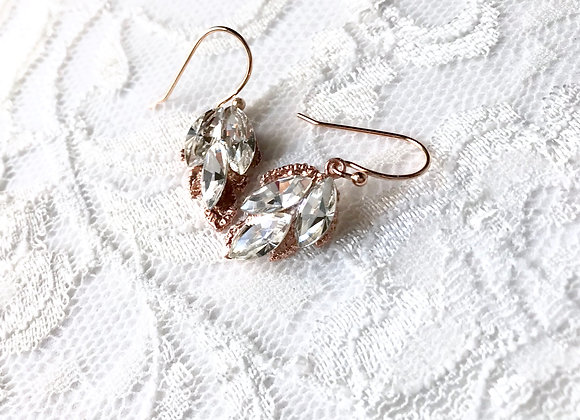 EDEN: Rose Gold Crystal Rhinestone Earrings