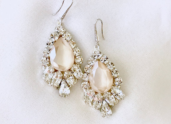MOLLIE: Ivory Rhinestone Bridal Earrings