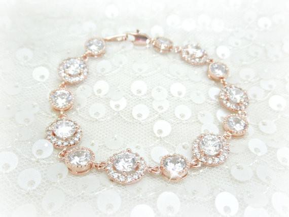 rose gold bridal bracelet