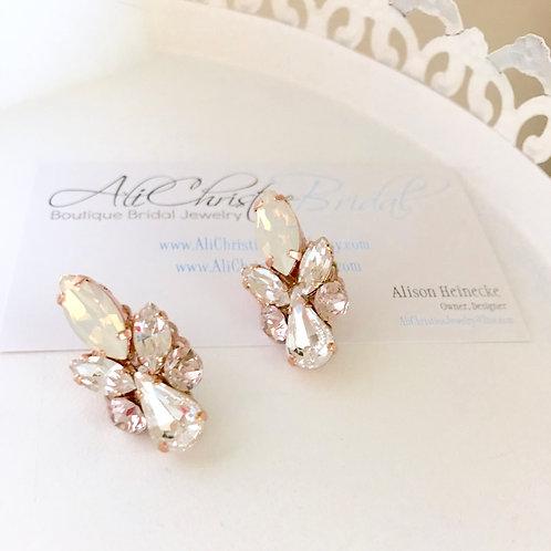 CELINA: Opal & Blush Rose Gold Earrings
