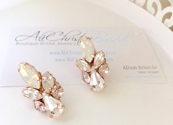 CELINA: Opal & Blush Rose Gold Earrings