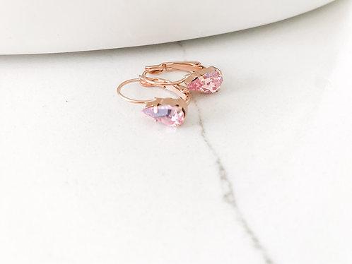 ROSALINE Teardrop Swarovski Earrings in Rose Gold