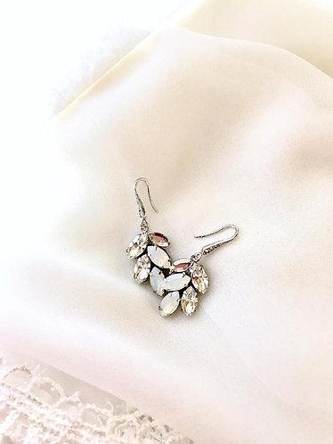 ANSLEY: White Opal Leaf Earrings