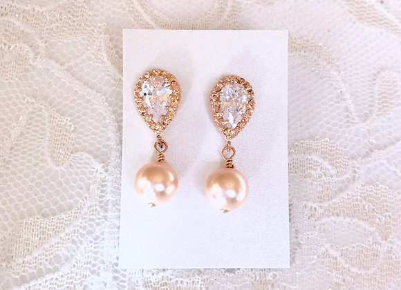 BELLINI: Peach Drop Rose Gold Earrings