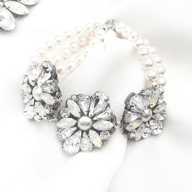 Custom Order: White Opal & Rhinestone Statement Bridal Bracelet