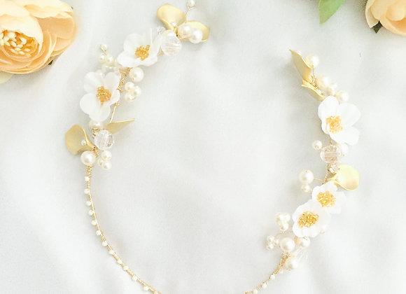 CARMELLA: Gold Floral Half Crown