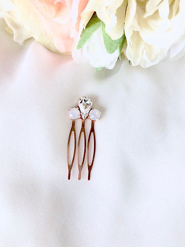ELLIE: Mini Rose Water Opal Rose Gold Comb