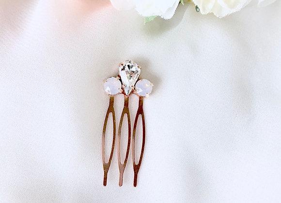 ELLIE: Mini Rose Water Opal Rose Gold Comb