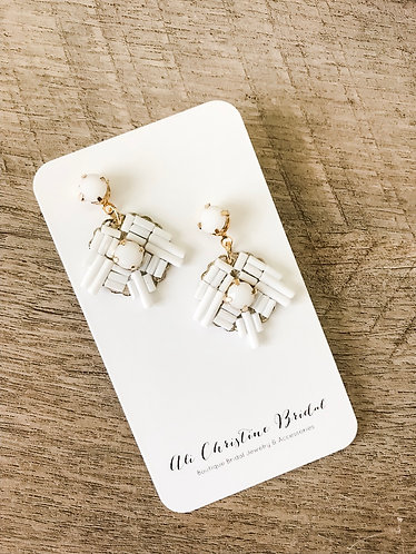 BLANCHE: Chalk White Modern Earrings