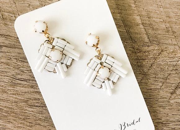 BLANCHE: Chalk White Modern Earrings