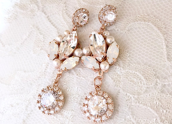 BERNADETTE: Rose Gold and Opal Long Earrings
