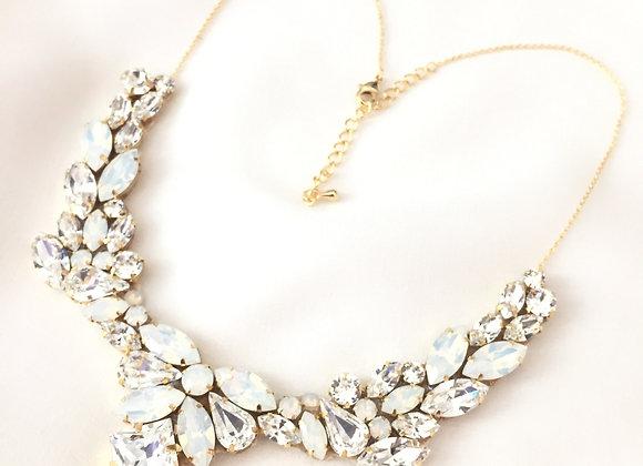 JANE: White Opal Swarovski Rhinestone Collar Necklace