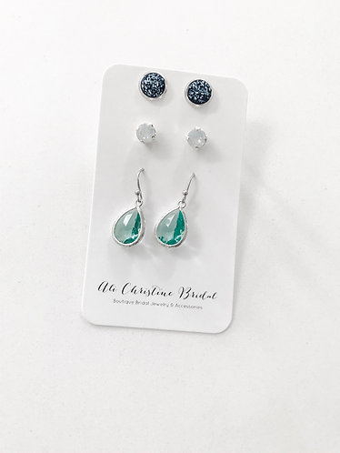 OCEAN BLUES TRIO: 3 pack earrings