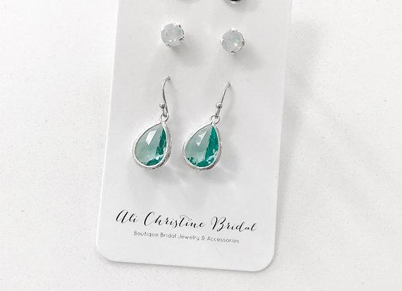 OCEAN BLUES TRIO: 3 pack earrings