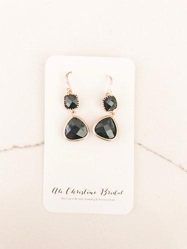 DOUBLE JEWELED Drop Earrings in black