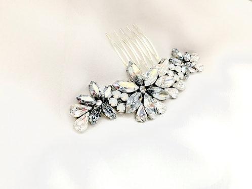 ASPEN: Blue Grey Floral Bridal Comb