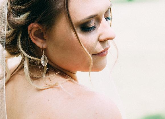 CRYSTAL EARRINGS: Clear Glass Faceted Earrings