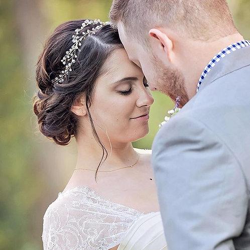NORA: Boho Crystal Bridal Hair Wreath