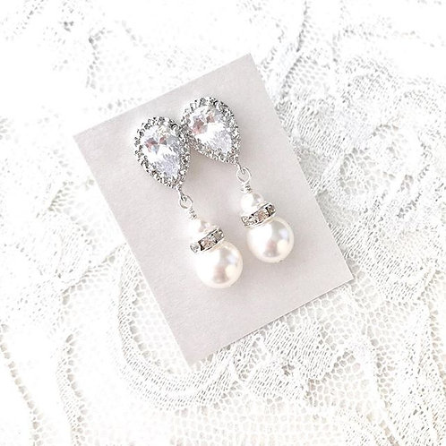 PAULINA: Pearl & Rhinestone Bridal Earrings