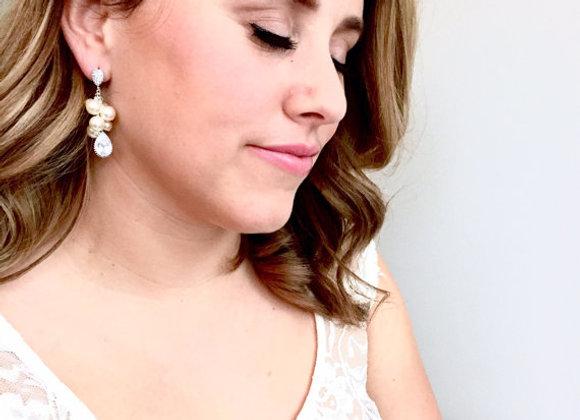 Swarovski Pearl Cluster CZ Earrings