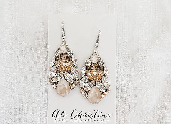 ELIZABETH: Champagne and Ivory Bridal Earrings
