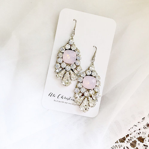 LEAH Earrings: Rosewater Opal Bridal Earrings