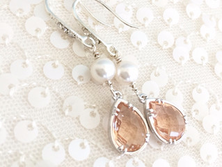 In the Studio: Custom Order Design for Kimberly Shelton- Blush & White Pearl Bridal Earrings