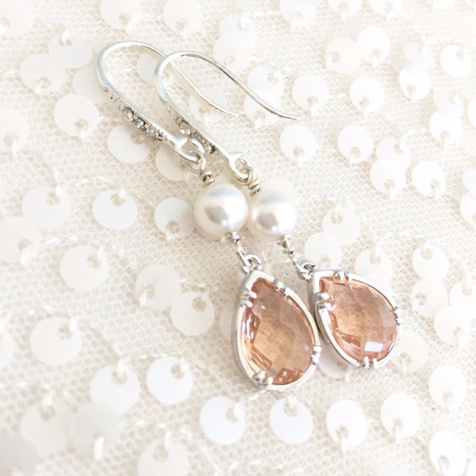 In the Studio: Custom Order Design for Kimberly Shelton- Blush & White Pearl Bridal Earrings