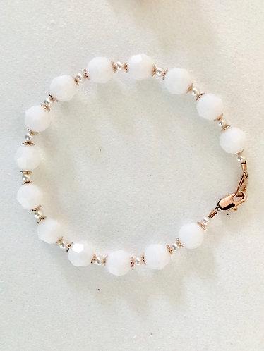 AILEEN: Alabaster White Swarovski Pearl Bracelet