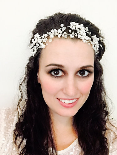 """Baby's Breath"" Pearl Head Piece, Bridal Adornment"