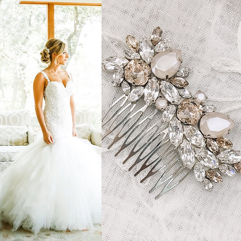 ELIZABETH: Ivory & Champagne Bridal Comb