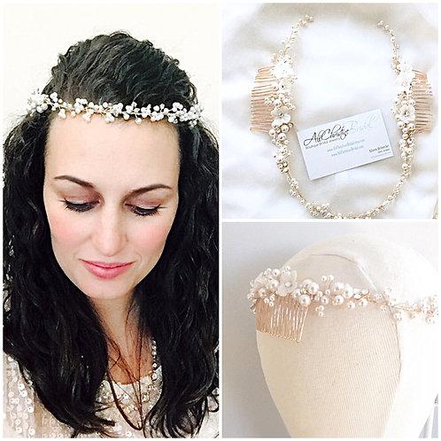 EVELYN: Floral Pearl Bridal Crown