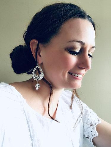 VIVIEN: Large Statement Rhinestone Bridal Earrings