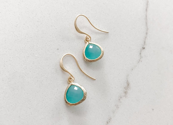 Mini Turquoise Glass Drop Earrings