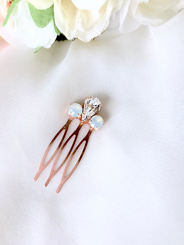 ELLIE: Mini White Opal Rose Gold Comb