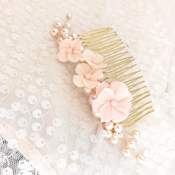 Gold Blush Floral bridal comb