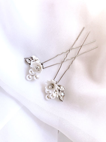 TIFFANY: Floral Rhinestone Leaf Pins (set of 2)
