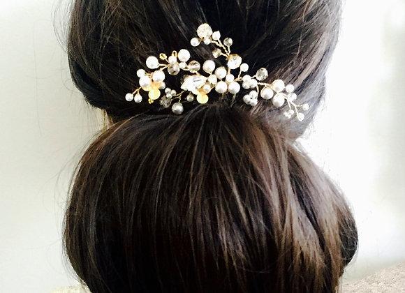 GIANNA: Gold Bridal Hair Pin with Swarovski Elements