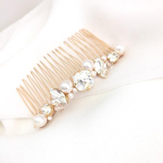 ELISE golden swarovski bridal comb