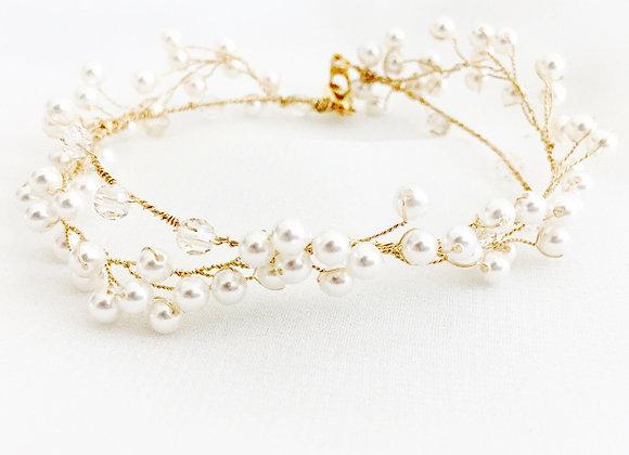 KIRSTEN: Crystal & Pearl Vine Bracelet