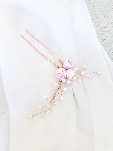 ROSETTE: Pale Pink Rose Bud and Pearl Floral Pin