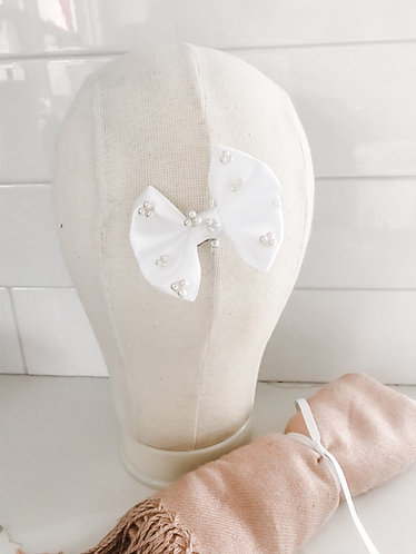 PIPER: White Pearl Embellished Hair Bow, Little Girls