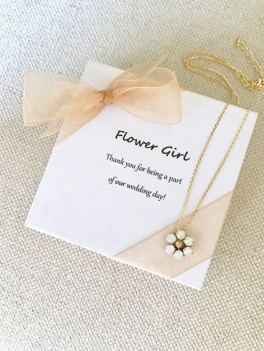 DAISY: Rhinestone Flower Girl Necklace